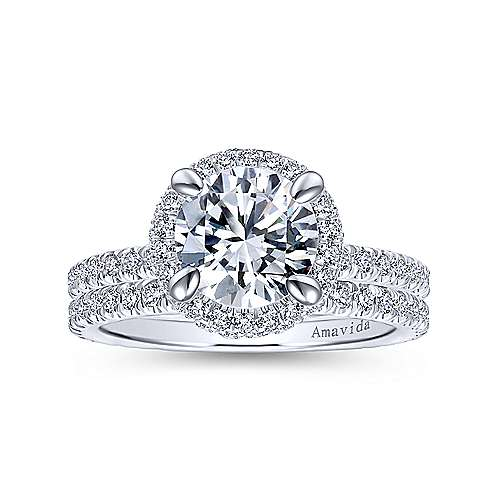 Bardot 18k White Gold Round Double Halo Engagement Ring angle 4