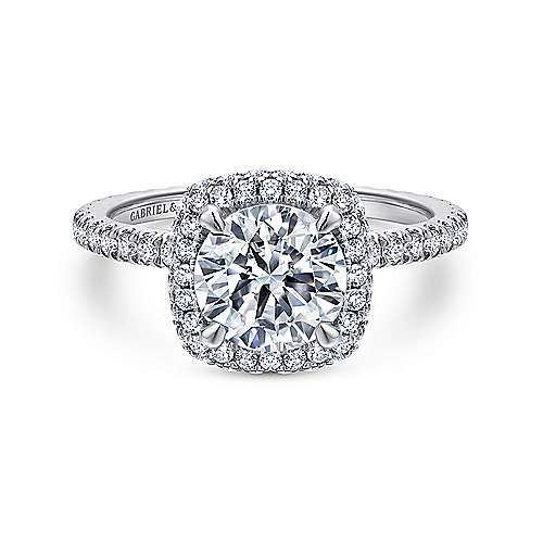 Gabriel - Bardot 18k White Gold Round Double Halo Engagement Ring