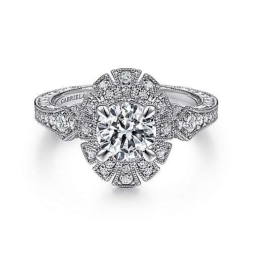 Gabriel - Baroness 14k White Gold Round Halo Engagement Ring