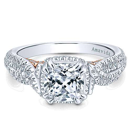 Gabriel - Bea 18k White And Rose Gold Cushion Cut Halo Engagement Ring