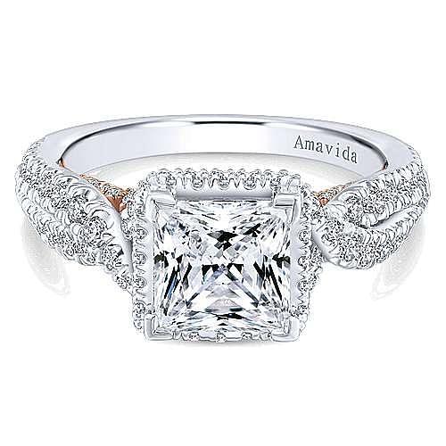 Gabriel - Bea 18k White And Rose Gold Princess Cut Halo Engagement Ring