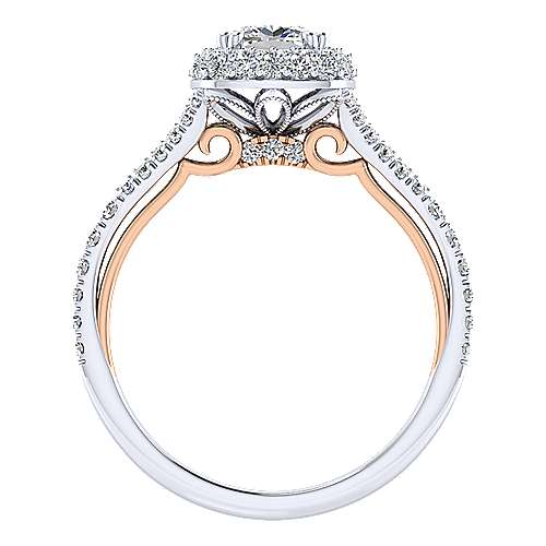 Beatrice 18k White And Rose Gold Cushion Cut Halo Engagement Ring angle 2