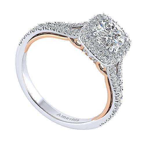 Beatrice 18k White And Rose Gold Cushion Cut Halo Engagement Ring angle 3