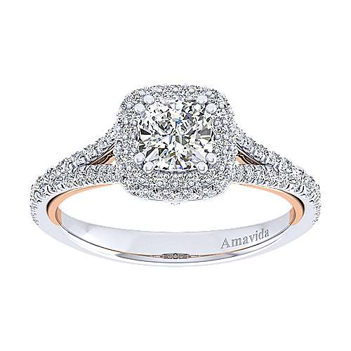 Beatrice 18k White And Rose Gold Cushion Cut Halo Engagement Ring angle 5