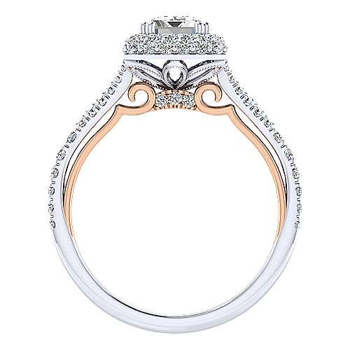 Beatrice 18k White And Rose Gold Emerald Cut Halo Engagement Ring angle 2