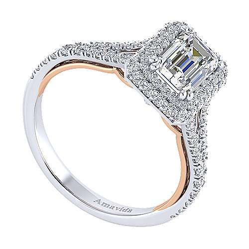 Beatrice 18k White And Rose Gold Emerald Cut Halo Engagement Ring angle 3
