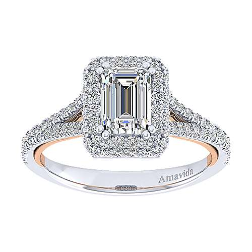 Beatrice 18k White And Rose Gold Emerald Cut Halo Engagement Ring angle 5