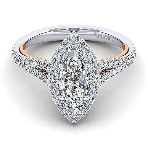 Gabriel - Beatrice 18k White And Rose Gold Marquise  Halo Engagement Ring