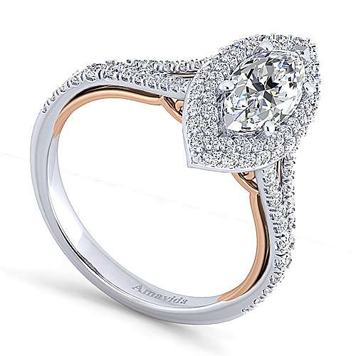 Beatrice 18k White And Rose Gold Marquise  Halo Engagement Ring angle 3