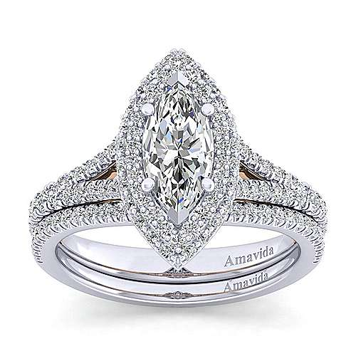 Beatrice 18k White And Rose Gold Marquise  Halo Engagement Ring angle 4
