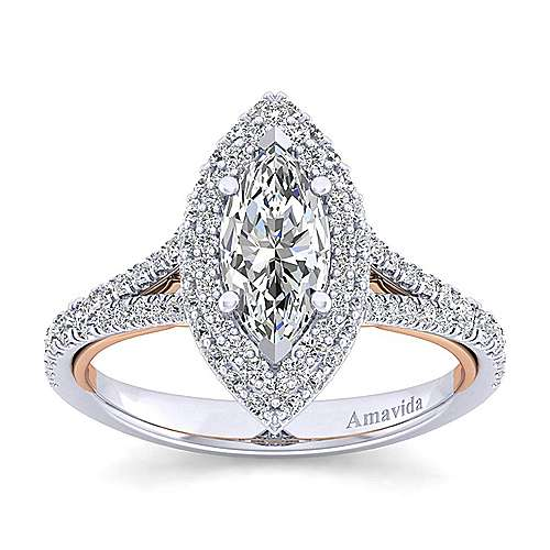 Beatrice 18k White And Rose Gold Marquise  Halo Engagement Ring angle 5