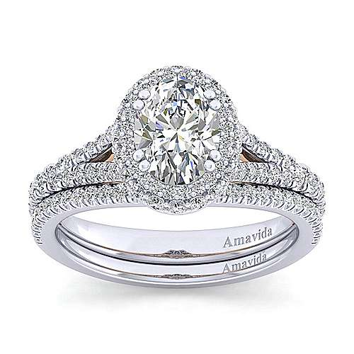 Beatrice 18k White And Rose Gold Oval Halo Engagement Ring angle 4