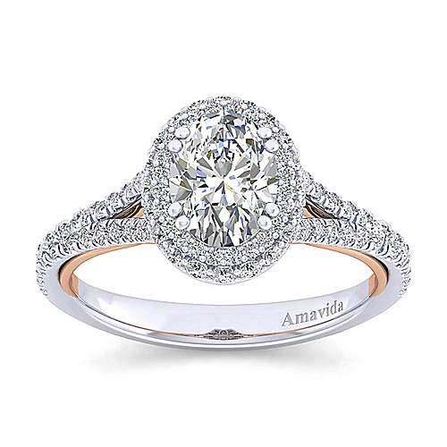 Beatrice 18k White And Rose Gold Oval Halo Engagement Ring angle 5