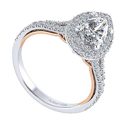 Beatrice 18k White And Rose Gold Pear Shape Halo Engagement Ring angle 3