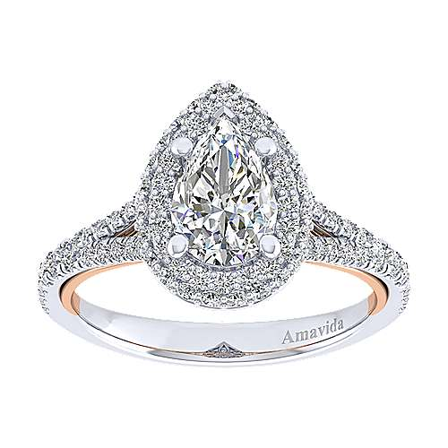 Beatrice 18k White And Rose Gold Pear Shape Halo Engagement Ring angle 5