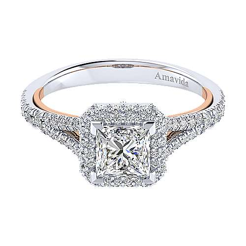 Gabriel - Beatrice 18k White And Rose Gold Princess Cut Halo Engagement Ring