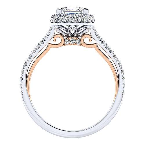 Beatrice 18k White And Rose Gold Princess Cut Halo Engagement Ring angle 2