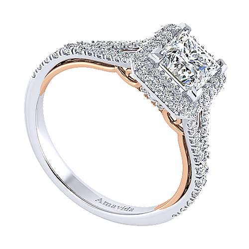 Beatrice 18k White And Rose Gold Princess Cut Halo Engagement Ring angle 3