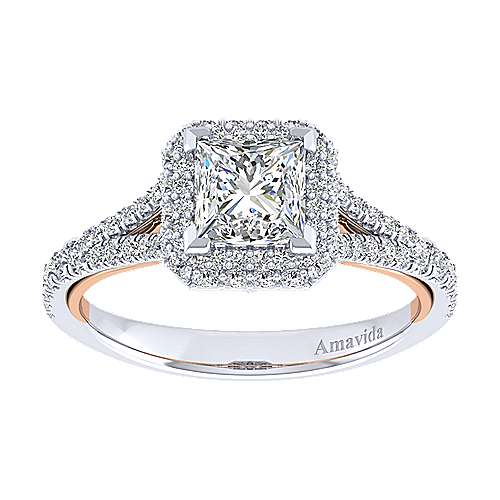 Beatrice 18k White And Rose Gold Princess Cut Halo Engagement Ring angle 5