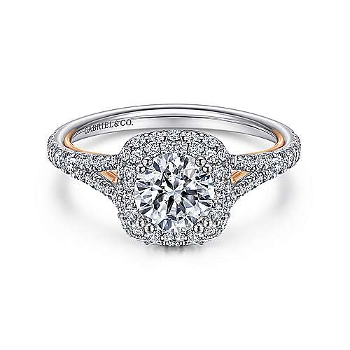 Gabriel - Beatrice 18k White And Rose Gold Round Double Halo Engagement Ring
