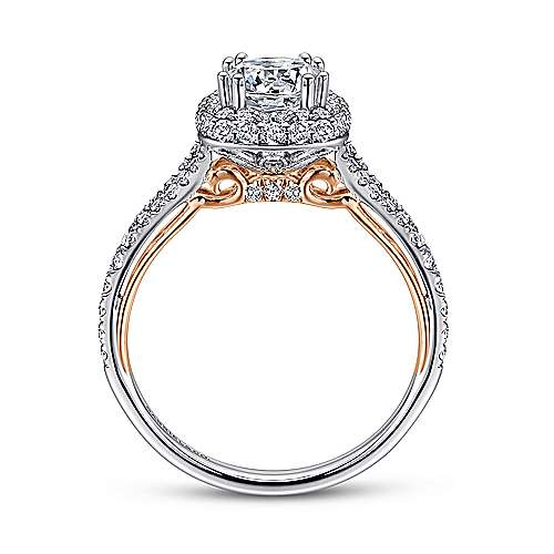 Beatrice 18k White And Rose Gold Round Double Halo Engagement Ring angle 2