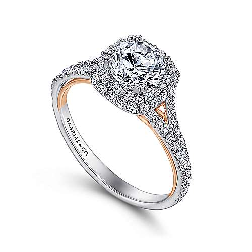 Beatrice 18k White And Rose Gold Round Double Halo Engagement Ring angle 3