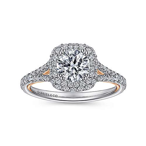 Beatrice 18k White And Rose Gold Round Double Halo Engagement Ring angle 5