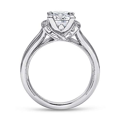Beatrix 14k White Gold Princess Cut Solitaire Engagement Ring angle 2