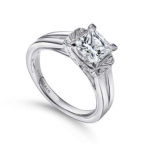Beatrix 14k White Gold Princess Cut Solitaire Engagement Ring angle 3