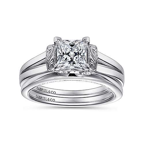 Beatrix 14k White Gold Princess Cut Solitaire Engagement Ring angle 4