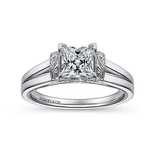 Beatrix 14k White Gold Princess Cut Solitaire Engagement Ring angle 5