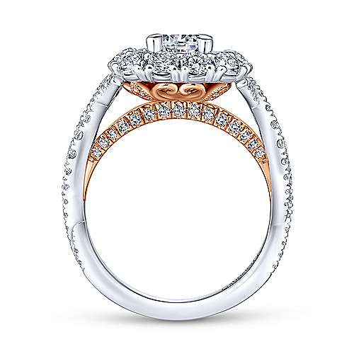 Beau 14k White And Rose Gold Round Double Halo Engagement Ring angle 2
