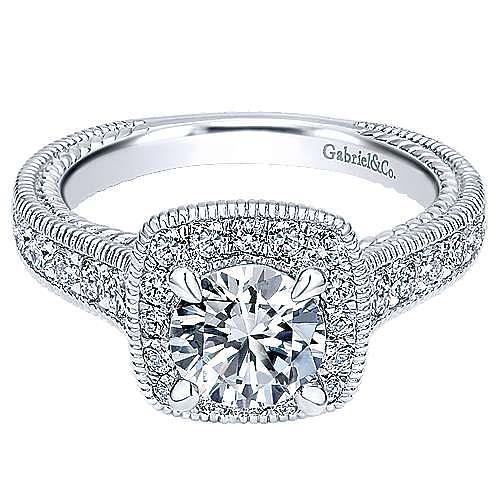 Gabriel - Beaufort 14k White Gold Round Halo Engagement Ring