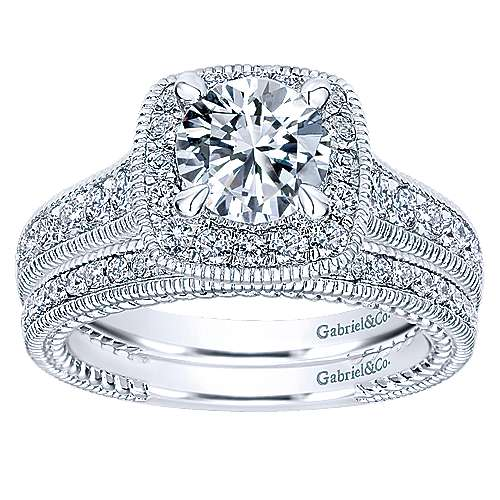 Beaufort 14k White Gold Round Halo Engagement Ring angle 4