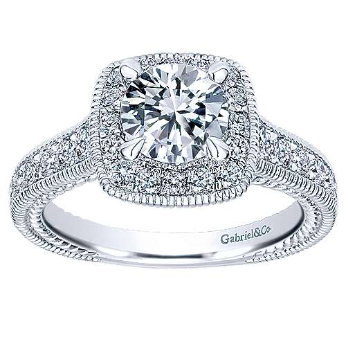 Beaufort 14k White Gold Round Halo Engagement Ring angle 5