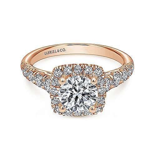 Gabriel - Beckett 14k Rose Gold Round Halo Engagement Ring