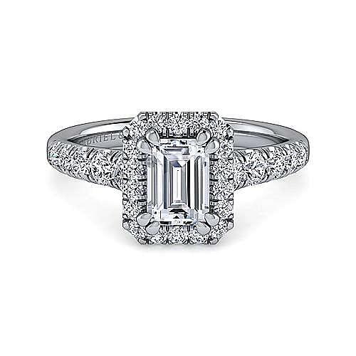 Gabriel - Beckett 14k White Gold Emerald Cut Halo Engagement Ring