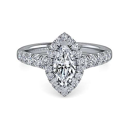 Gabriel - Beckett 14k White Gold Marquise  Halo Engagement Ring