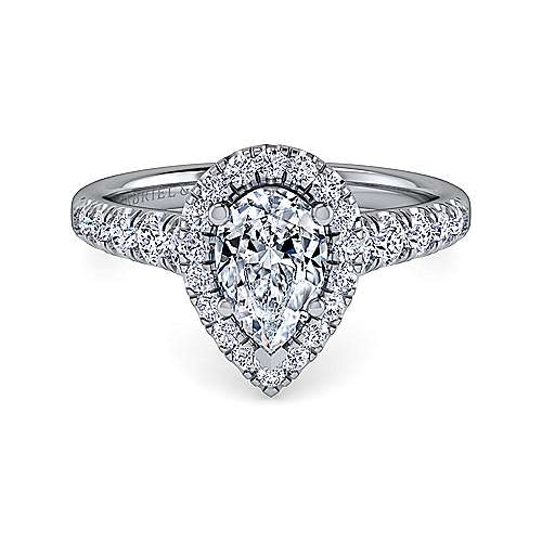 Gabriel - Beckett 14k White Gold Pear Shape Halo Engagement Ring
