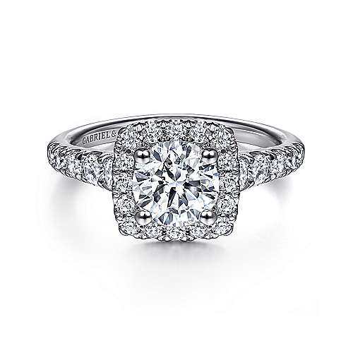 Gabriel - Beckett 14k White Gold Round Halo Engagement Ring