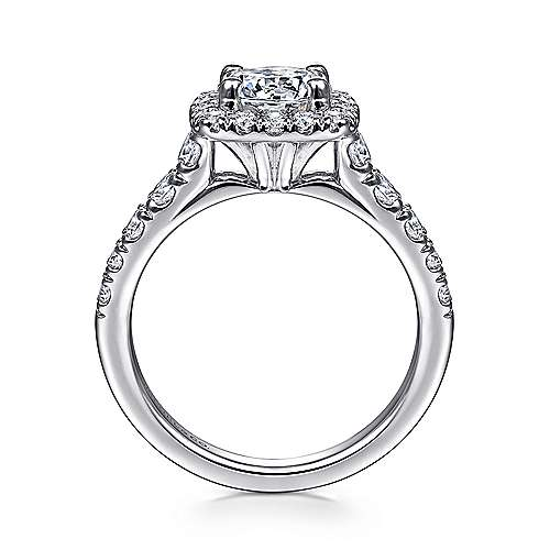 Beckett 14k White Gold Round Halo Engagement Ring angle 2