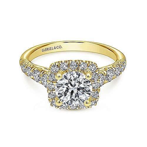 Gabriel - Beckett 14k Yellow Gold Round Halo Engagement Ring