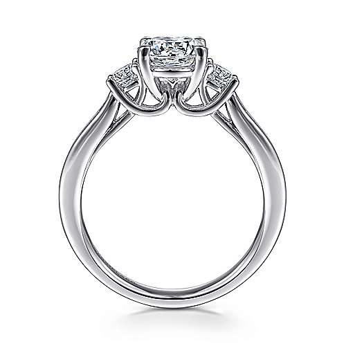 Becky 14k White Gold Round 3 Stones Engagement Ring angle 2