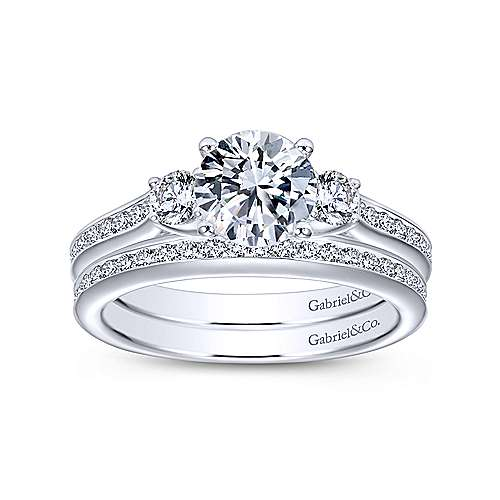 Becky 14k White Gold Round 3 Stones Engagement Ring angle 4