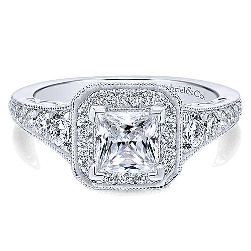Gabriel - Bedford 14k White Gold Princess Cut Halo Engagement Ring
