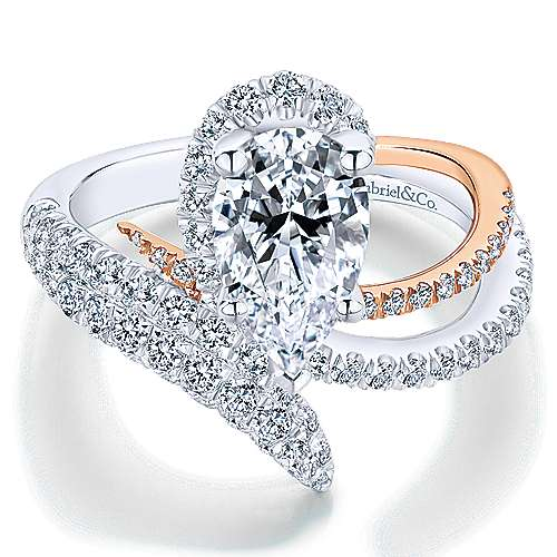 Belinda 18k White And Rose Gold Pear Shape Halo Engagement Ring angle 1