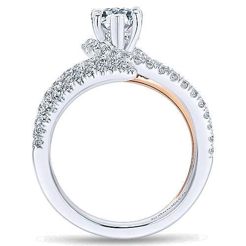 Belinda 18k White And Rose Gold Pear Shape Halo Engagement Ring angle 2