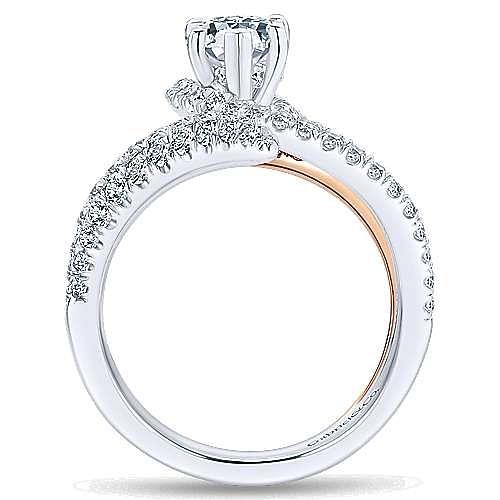 Belinda 18k White And Rose Gold Pear Shape Halo Engagement Ring angle 2