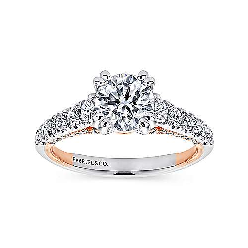 Bella 18k White And Rose Gold Round Straight Engagement Ring angle 5