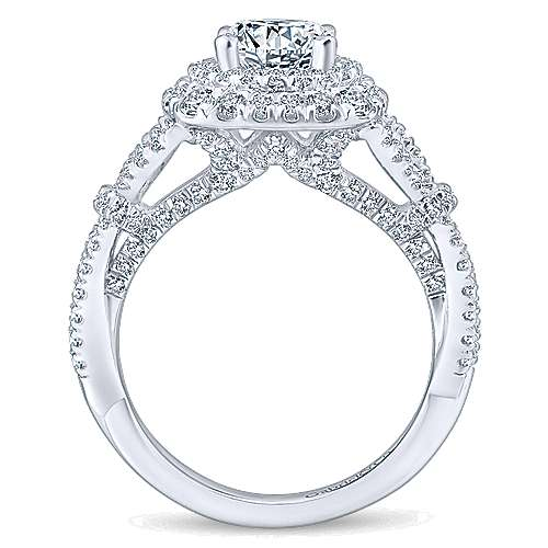 Belladonna 14k White Gold Round Double Halo Engagement Ring angle 2